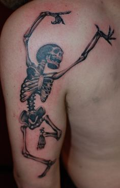 TumblrDance of the Dead by Brett Fowler at hammersmith tattoo, this one started off as a simple idea from a walk in customer, Brett turned it into the macabre beauty you see before you :) haha