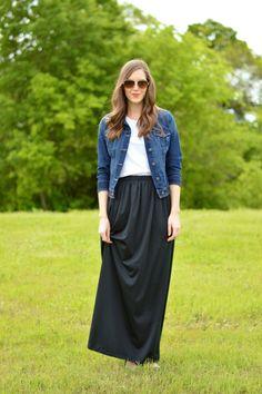 Modest Black Maxi Skirt