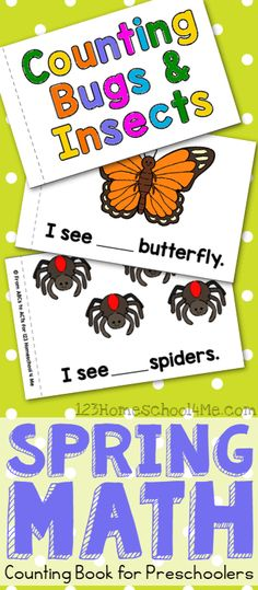 FREE Count to 10 Bugs & Insects Book for Preschoolers - NO PREP as you print the black and white pages to make your own counting worksheets perfect for preschool math, spring activity for kids. Great for toddler, prek, homeschool, kids activities, and refining fine motor skills as kids strengthen muscles coloring.