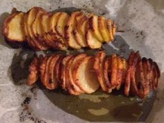 Simple potato chips - cut/slice, put on the skewer, sprinkle with seasonings and oil. Bake in the oven.