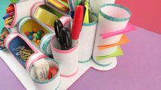 Toilet paper roll crafts, cardboard crafts, school supplies organization, d School Supplies Organization, Diy School Supplies, Makeup Storage, Makeup Organization, Diy Craft Projects, Diy And Crafts, Diy Locker, Diy Tumblr, Toilet Paper Roll Crafts