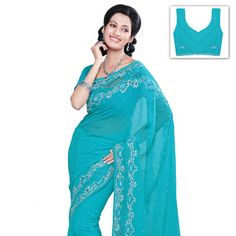 Blue Faux Chiffon Saree with Blouse Online Shopping: SRH148