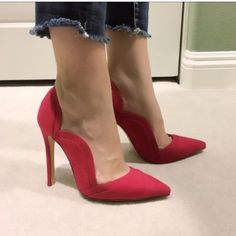 Red suede wave side pointy pumps Brand new no shoebox. Shoes