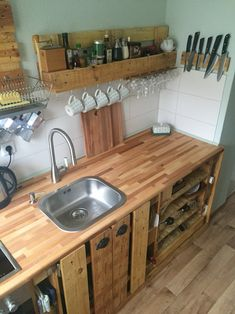 New Kitchen Sink Overmount Countertops Ideas Pallet Kitchen Cabinets, Kitchen Cabinet Design, Kitchen Countertops, Pallet Countertop, Rustic Kitchen, Diy Kitchen, Kitchen Decor, Kitchen Storage, Kitchen Rack