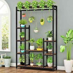 Metal Plant Stand, Wooden Plant Stands, Diy Plant Stand, Small Balcony Garden, Small Balcony Decor, Balcony Plants, Garden Shelves, Plant Shelves, House Plants Decor