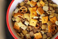 Spicy Chex Mix  -  If you don't like it spicy leave off the pepper sauce.  If you like sweet and salty, after heating    and then cooling add raisins and/or mini M&M's.  Great snack for the bowl game!