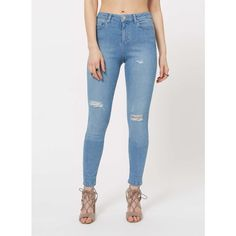 Miss Selfridge LIZZIE Blue Distressed Jean ($70) ❤ liked on Polyvore featuring jeans, mid wash denim, ripped skinny jeans, blue ripped jeans, torn jeans, destroyed jeans and bleached blue jeans