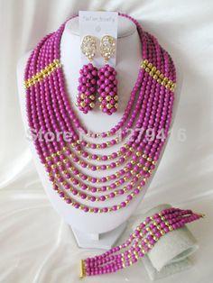 Fashion Nigerian African Wedding Beads Jewelry Set , Crystal Necklace Bracelet Earrings Set C0692 $63.26