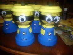 Disney Minion painted terra cotta candy jars.