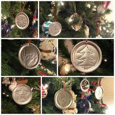 Making Punched Tin Ornaments from Canning Jar Lids. Could do dinosaurs and peacocks and owls Noel Christmas, Diy Christmas Ornaments, Rustic Christmas, Christmas Decorations, Snowman Ornaments, Dough Ornaments, Ornament Crafts, Jar Lid Crafts, Mason Jar Crafts
