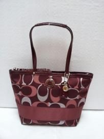 FREE SHIP - NWT! COACH Signature Stripe 3 Color Metallic Red Burgundy Tote Shoulder Bag F20429