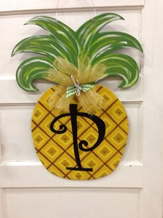 Summer door hangerPineapple door by Furnitureflipalabama on Etsy, $40.00