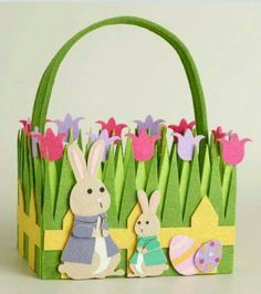 Decorated felt easter basket buy new 499 uk ireland only crafted of felt in bright spring colors our exclusive bunny family felt easter basket features an adorable bunny and son amidst beautiful tulips negle Gallery