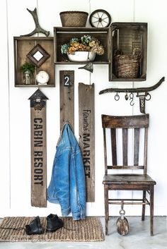 Get inspired for a new entry way look with this old signs with rustic crates mini entryway idea, using reclaimed wood and Funky Junk's Old Sign Stencils!
