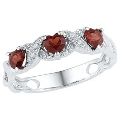 Diamond Accent White Diamond & Garnet Prong Set Three Stone Heart Ring in Sterling Silver (8.00)