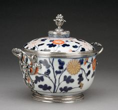 French silversmith added scrolling acanthus mounts to Japanese porcelain #superbowl #arttouchdown! Lidded Bowl, Japanese, Imari porcelain, about 1680; French mounts, about 1717. The J. Paul Getty Museum