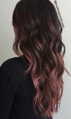 Hair Pink Ends Haircolor 62 Ideas Hair Pink Ends Haircolor 62 Ideas Brown Hair Pink Ends, Red Violet Hair, Light Brown Hair, Light Hair, Rose Gold Balayage Brunettes, Balayage Hair Rose, Balayage Pink, Hair Lights, Pink Hair Highlights