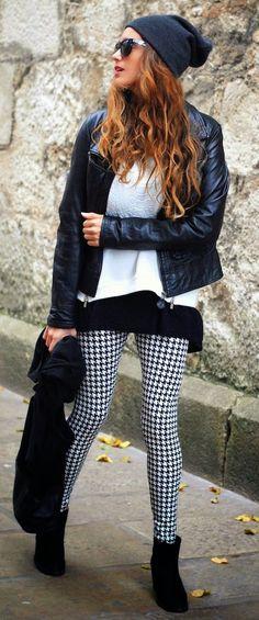 Houndstooth Legging + Leather Moto Jacket & Inspiration