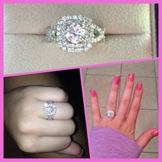 My double halo, cushion cut, infinity band engagement ring. Im obsessed!!