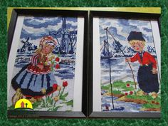 Set  Dutch Needlepoint  Girl and Boy in by KressHillVintage, $46.00