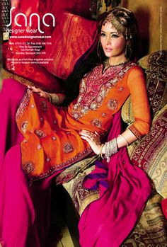 pink and orange, sana designer wear Churidar, Anarkali, Salwar Kameez, Kurti, Pakistani Couture, Indian Couture, Indian Dresses, Indian Outfits, Indian Clothes