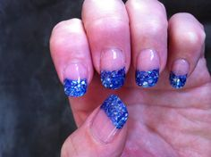 Blue violet crushed sea shell nails.