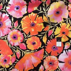 I love these colors! Flying Bulldogs, Inc. - Dena Designs PWDF135 The Painted Garden Azalea Black Fabric By The Yard , $7.05 (http://www.flyingbulldogs.com/dena-designs-pwdf135-the-painted-garden-azalea-black-fabric-by-the-yard/)