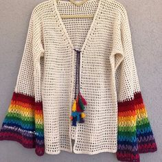 New crochet dirty white cardigan with rainbow sleeves lace jacket with tassel knots spring summer clothing crochet patterns 3 cardigan clothing crochet dirty jacket knots lace patterns rainbow sleeves spring summer tassel white Crochet Cardigan Pattern, Crochet Tunic, Crochet Clothes, Crochet Lace, Hand Crochet, Freeform Crochet, Crochet Dresses, Crochet Tops, Crochet Motif