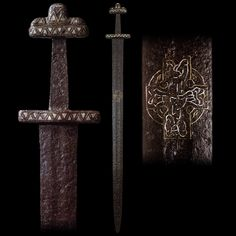 "myArmoury.com A Fine Viking Sword with Gold and Silver Inlaid Blade and Hilt, 11th century Overall length: 94 cm (37""); Blade length: 78.75 cm (31"")"