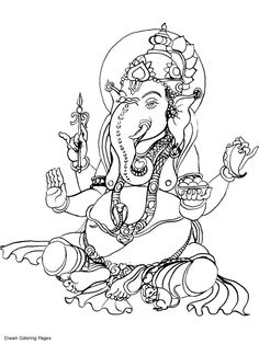 ganesha coloring pictures | Sri Ganesh Coloring Pages, Printable Sri Ganesh Coloring Sheets, Sri ...