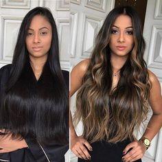 Brown Hair Balayage, Brown Blonde Hair, Hair Color For Black Hair, Brunette Hair, Hair Highlights, Dark Hair, Brown Highlights, Black Hair With Ombre, Bayalage