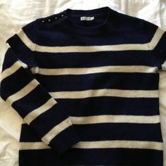 Lark & Wolf Striped Lambswool Sweater Cute navy & white stripe sweater with brass buttons on one shoulder. Casual and comfy. Fit is slightly boxy, but true to size so doesn't look oversize. Sweaters