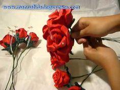 ¡ Tutorial Rosas de Tela ! Rápido y fácil con los Moldes de Flores - YouTube