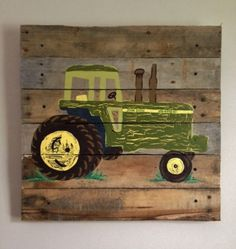Tractor,Green,20X20,Painted,Pallet Art,Boys Rustic Wall Art,Tractors,Farm,Farmer,Barn house Decor,Baby Boys Room,John Deere Birthday,Farming on Etsy, $69.55 CAD