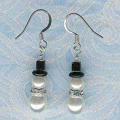 bead snowmen earrings