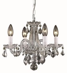125$  15Dx12H Ceiling Hanging Mini Rococo Crystal Chandelier w Hanging Kit, 4 Lts. Chrome #Traditional