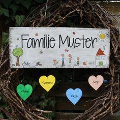 Shabby Chic Holzschild - Türschild Familie mit Herzen