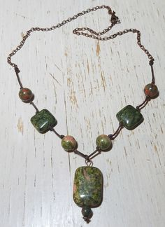 This knotted necklace turned out gorgeous, the copper color of the chain compliments the unakite jasper. I do not do much with gemstones, but this is a beautiful stone, one of nature's most healing crystals of the heart and mind resonating with the frequency of love, compassion and kindness. Trendy Jewelry, Jewelry Trends, Knot Necklace, Pendant Necklace, Heart And Mind, Healing Crystals, Copper Color, Compassion, Jasper