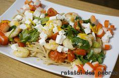 Esparguete de espelta c/ miolo camarão, tomate e delícias | ratatui dos pobres