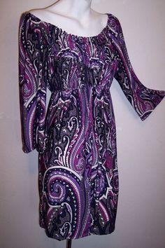 INC Dress S Black Purple Gray Paisley Stretch Jersey Knit Mini Or Tunic Shirt S #INCInternationalConcepts #stretchknitShift #Festive