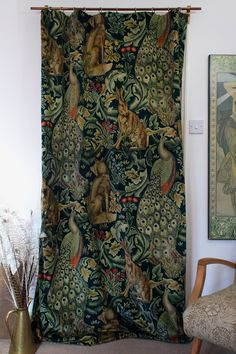 William Morris & Co Forest Velvet & Velvet Lined Heavy Door Curtain 84 Drop . William Morris, Door Curtains, Velvet Curtains, Curtain Door, Blinds Curtains, Blind Art, Arts And Crafts Movement, My Living Room, My New Room