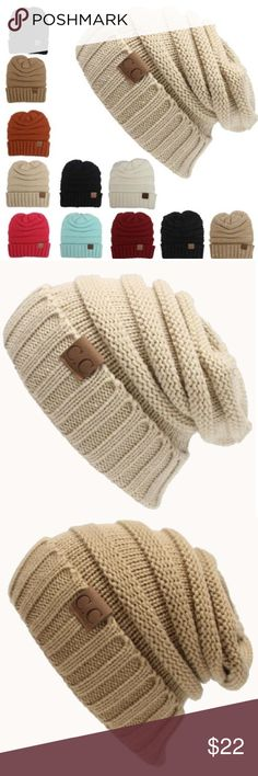 Black, Tan, & Cream Cable Knit Slouchy Beanie! Warm Chunky Soft Stretch Cable Knit Slouchy Beanie!  Comes in the three colors pictured!  Very warm and super trendy this winter!  Also unisex. Accessories Hats