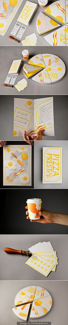Graphic Design: Amanda Berglund's great identity for a breakfast pizza place. I don't know when the ROI gets into this complex branding packaging. Corporate Design, Brand Identity Design, Graphic Design Branding, Typography Design, Packaging Design, Layout Design, Graphisches Design, Book Design, Creative Design