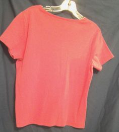 Basic Editions Hot Pink Top Deep Scoop Neck Short Sleeves Size M Cotton