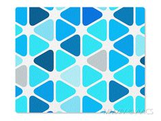 Blue Triangles Mouse Pad Style 46 Candy Color Blue Gray by ATHiNGZ, $5.99