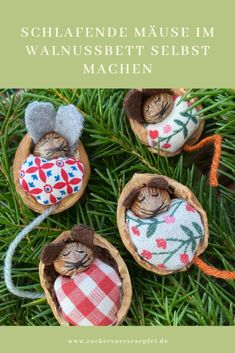 Schlafende Mäuse im Walnussbett Sleeping mice in the walnut bed, DIY, handicrafts with and for child Nature Crafts, Fall Crafts, Diy And Crafts, Arts And Crafts, Christmas Crafts, Christmas Decorations, Christmas Ornaments, Diy For Kids, Crafts For Kids