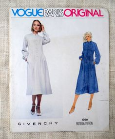Vogue Paris Original 1950; ca. 1979; Givenchy - Misses Dress. Pullover dress, six inches below mid-knee with fitted bodice and slightly