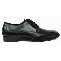 Zapato blucher con bordón en piel negra de Lottusse vista lateral