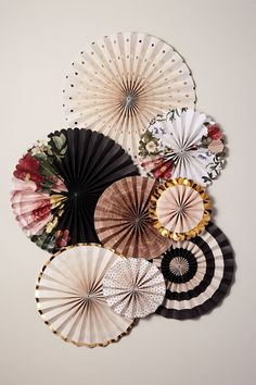 25 Pretty (And Affordable) Bridal Shower Decorations to Honor the Future Bride Gold Wedding Decorations, Bridal Shower Decorations, Paper Decorations, Paper Wall Decor, Rose Gold Paper, Affordable Bridal, Creation Deco, Wall Fans, Paper Fans