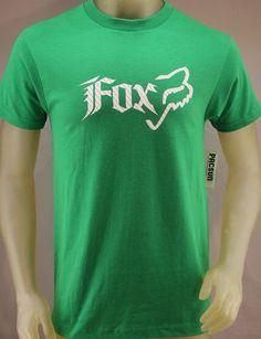 3545bfc468b Fox Racing green T-shirt with white logo Mens Name Brand Shirts